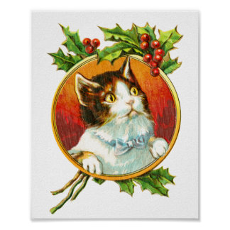 Fancy Cat with Holly Berry | Vintage Christmas Poster
