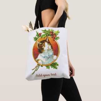 Fancy Cat with Holly Berry | Vintage Christmas Tote Bag