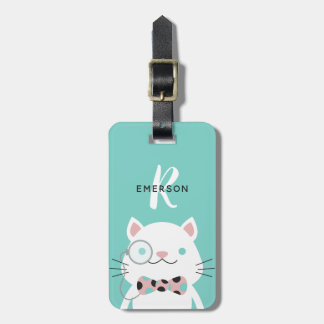 Fancy Cat with Monocle | Monogram Bag Tag