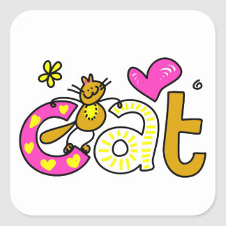 Fancy Cat - Word Print Square Sticker
