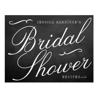 Fancy Chalkboard Bridal Shower Recipe Cards Postcard