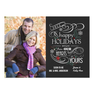 Fancy Chalkboard Happy Holidays Flat Cards