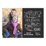 Fancy Chalkboard Happy Holidays Flat Cards Personalized Announcement