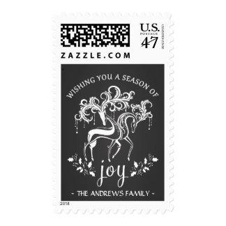 Fancy Chalkboard Reindeer Holiday Joy Personalized Postage