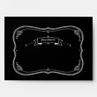 Fancy Chalkboard Vintage Wedding Custom Envelope