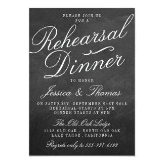 Fancy Chalkboard Wedding Rehearsal Dinner 5x7 Paper Invitation Card