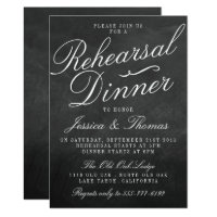 Fancy Chalkboard Wedding Rehearsal Dinner Card