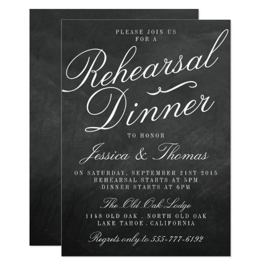 Fancy Chalkboard Wedding Rehearsal Dinner Card Zazzle