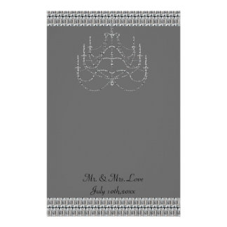 Fancy Chandelier And Diamonds Shimmer Wedding Stationery