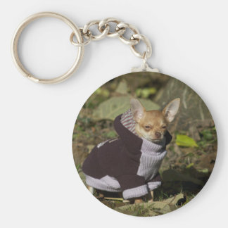 Fancy Chihuahua Basic Round Button Keychain