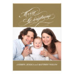 Fancy Christmas Flat Card Photo Gold Invites