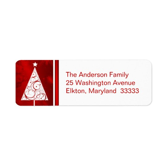 Fancy Christmas Tree - Return Address Labels