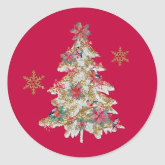 Fancy Christmas Tree with Birds Red Classic Round Sticker