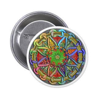 Fancy Circle Floral Design 2 Inch Round Button