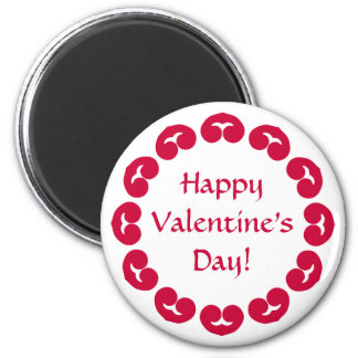 Fancy circle of red hearts Valentine's day 2 Inch Round Magnet