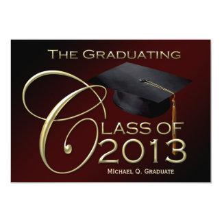 "Fancy Class of 2013 Maroon Graduation Announcement 5"" X 7"" Invitation Card"