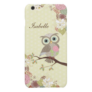 Fancy Cocking Head Owl Flowers Savvy iPhone 6 Plus Glossy iPhone 6 Plus Case