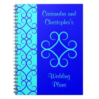 Fancy colorblock blue colors wedding note book