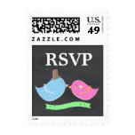 Fancy colorful chalkboard design with birds postage stamp