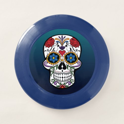 Fancy Colorful Floral Sugar Skull Ombre Background Wham_O Frisbee