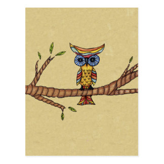 Fancy Colorful Owl Branch Postcard