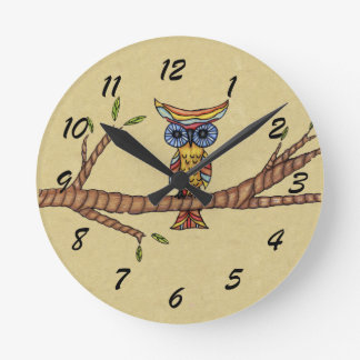 Fancy Colorful Owl Tree Branch Round Wall Clock