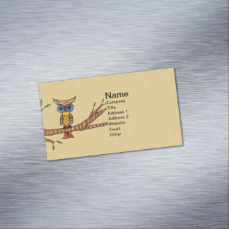 Fancy Colorful Owl Tree Branch Magnetic Business Card