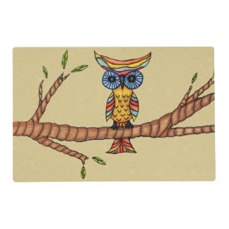 Fancy Colorful Owl Tree Branch Placemat