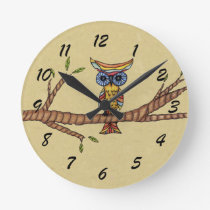 Fancy Colorful Owl Tree Branch Round Clock