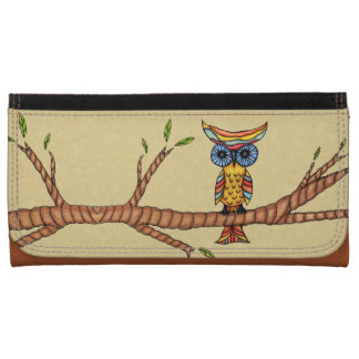 Fancy Colorful Owl Tree Branch Wallet