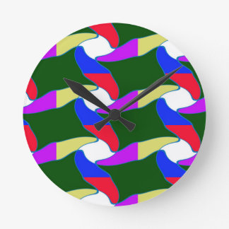 Fancy Colorful Paper Craft Ropes Print on shirts Round Clock