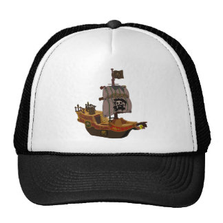 Fancy Colorful Wooden Pirate Ship Trucker Hat