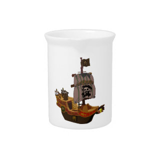 Fancy Colorful Wooden Pirate Ship Drink Pitchers