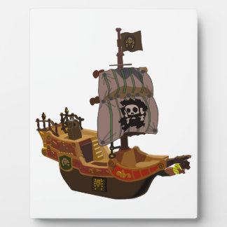 Fancy Colorful Wooden Pirate Ship Photo Plaques