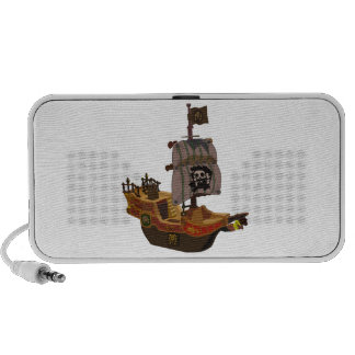 Fancy Colorful Wooden Pirate Ship Speaker
