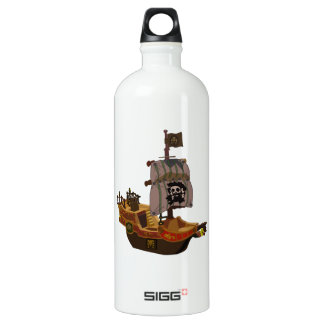 Fancy Colorful Wooden Pirate Ship Water Bottle