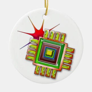 Fancy Computer Chip Double-Sided Ceramic Round Christmas Ornament