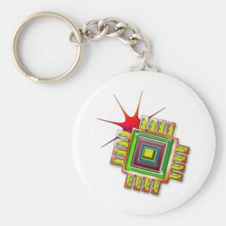Fancy Computer Chip Keychain