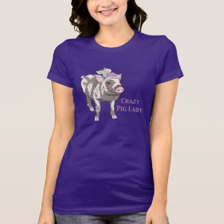Fancy Crazy Pig Lady T-Shirt