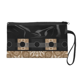 Fancy Cream Black Abstract Wristlet Purses
