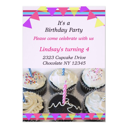 Fancy Cupcakes Birthday Party Invitation