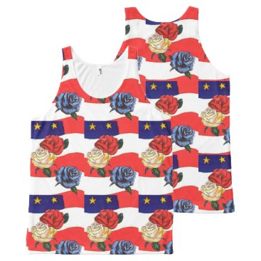 USA Themed Fancy Cute Red White Blue Star USA Flag and Roses All-Over-Print Tank Top