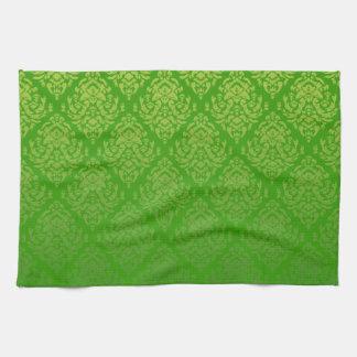 Fancy Damask Design~Green Towels