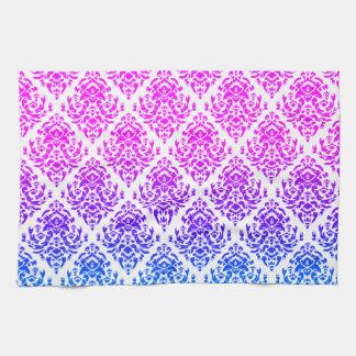 Fancy Damask Design~ Pink/Blue Hand Towels