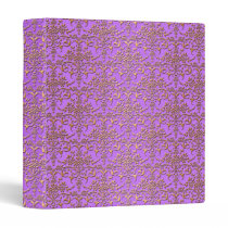 Fancy Damask Pattern in Purple and Gold 3 Ring Binder