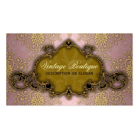 Pink and Gold Fancy Damask Vintage Boutique Business Cards