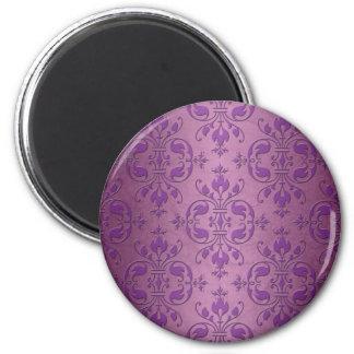 Fancy Damask Purple over Mauve Pink Magnet