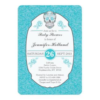 Fancy Damask Skull Baby Shower Invitation in Aqua