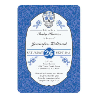 Fancy Damask Skull Baby Shower Invitation in Blue