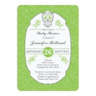Fancy Damask Skull Baby Shower Invitation in Green